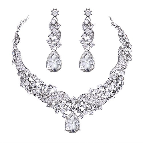 Teardrop Clear Jewelery Set for Women or Wedding Austrian Crystal(1 Set Earring,1PCS Necklace)