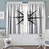 Compass Window Curtain Drape Seamanship Hand Drawn Windrose with Complete Directions North South West Decorative Curtains for Living Room 72'' W x 63'' L Charcoal Grey White