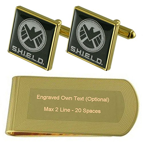 Shield Engraved Agent Gold Clip Set tone Money Gift Cufflinks axvHvp4wF
