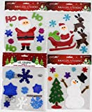 Holiday Christmas Gel Clings: Santa Claus Tree Snowmen Snowflake Reindeer Decorations for Home Office Windows Mirrors and More!