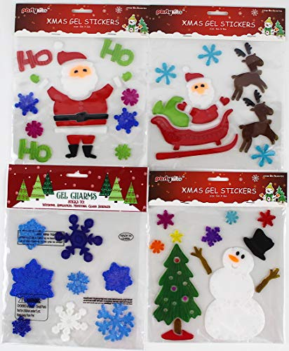 Holiday Christmas Gel Clings: Santa Claus Tree Snowmen Snowflake Reindeer Decorations for Home Office Windows Mirrors and More! by Generic