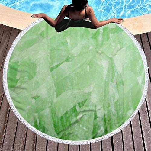 Round Beach Towels Tapestry with Tassels Green Jade Stone Marble Mandala Tablecloth Circle Wall Hanging Meditation Picnic Rugs 59 Inches