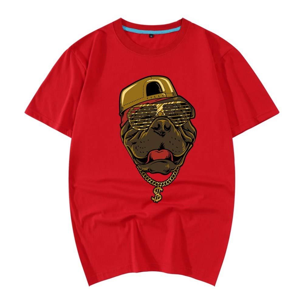 3D-Pullover 2018 Rotes Kleid Baumwolle Sommer Kurzarm T-Shirt Lose 3D Tier Muster Herren Hemd 190   3XL Rot