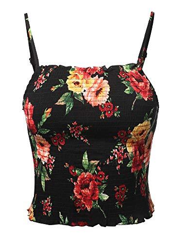 Floral Smocked High Square Neck Crop Top Black M