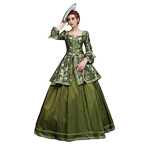 17 Century Costumes (XNAIHUAFEI Women's 17th Century Green Baroque Party Dress Costumes Size US 16W)