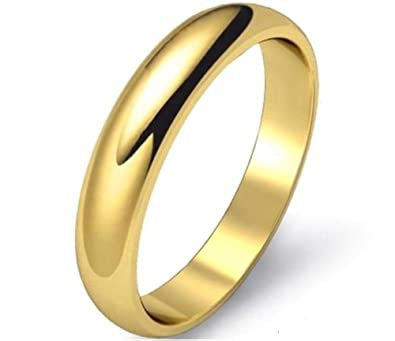 9ct 9K Yellow Gold Plated Men Ladies Wide Wedding Band Ring Various Sizes.W=5mm JbBxP