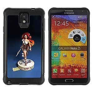 LASTONE PHONE CASE / Suave Silicona Caso Carcasa de Caucho Funda para Samsung Note 3 / redhead girl blue statue woman warrior