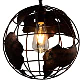 Earth Shape Globe Coppery Pendant Lighting -Battaa CTI8041 (2018 New Design) Industrial Vintage Style Simple Wrought Iron Chandelier Creative Loft Hanging Ceiling Lamp For Indoor Bar 2-Year Warranty
