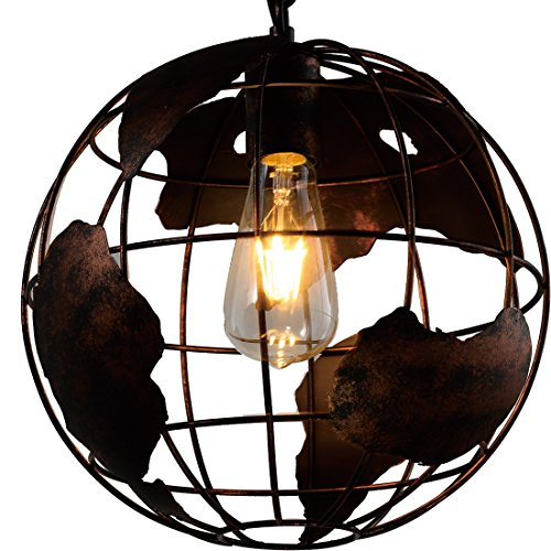 Earth Shape Globe Coppery Chandelier -Battaa CTI8041 ( 2018 New Design ) Industrial Vintage Style Simple Wrought Iron Pendant Lighting Creative Loft Hanging Ceiling Lamp For Indoor Bar 2-Year Warranty