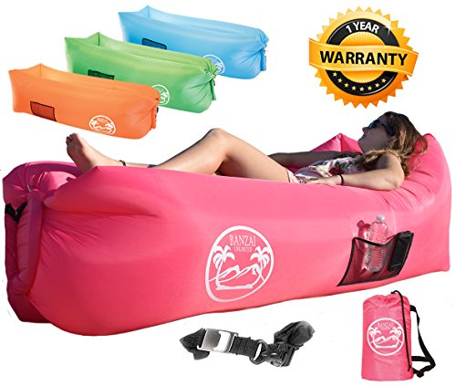 Banzai Unlimited Inflatable Lounger Air Sofa Couch Hammock with Bottle Opener 4 Pockets Headrest Securing Stake & Travel Bag. Blowup LayBag for Beach Camping Pool Float Indoors Outdoors