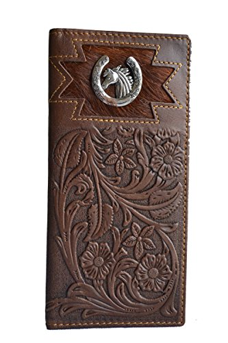 Cowboy Boot Purse - men floral horseshoe horse cowhide bifold slim tall long leather wallet (brown)
