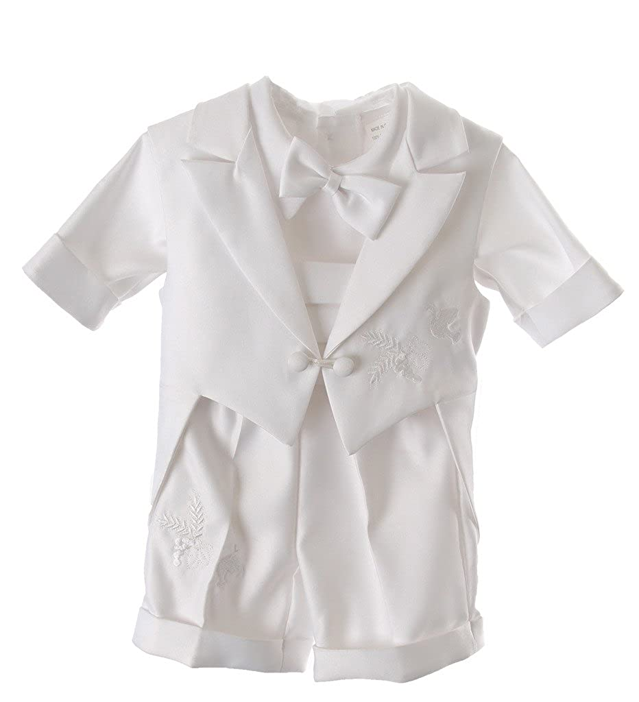 Baby Boys Christening Outfit - Infant Baptismal Dove Embroidered Tail Vest 5pc Short Set All White
