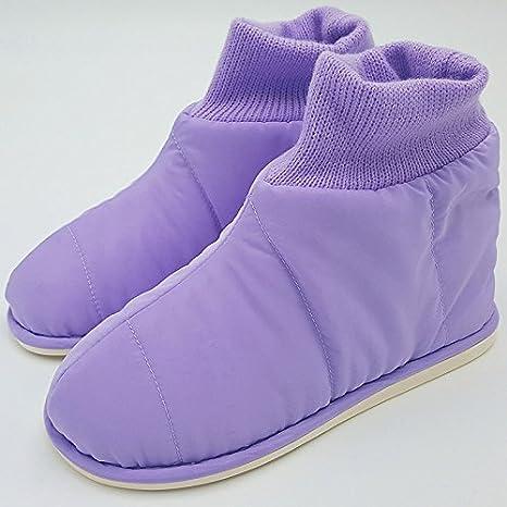 LaxBa Invierno patinar en zapatillas piel falsa nieve forrada caliente Zapatos para hombres,235 púrpura