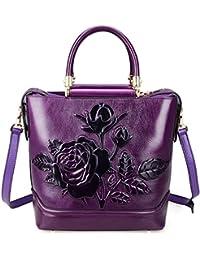 Designer Classic Designer Genuine Leather Floral Ladies Satchel Top Handle Lash Handbags 65445