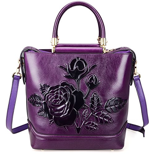 Pijushi Designer Classic Designer Genuine Leather Floral Ladies Satchel Top Handle Lash Handbags 65445 (Big Size, Violet)