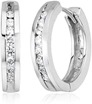 10k Gold Channel-Set Diamond Hoop Earrings (1/3 cttw, H-I Color, I2-I3 Clarity)