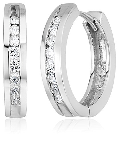 - 10k White Gold Channel-Set Diamond Hoop Earrings (1/3 cttw, H-I Color, I2-I3 Clarity)