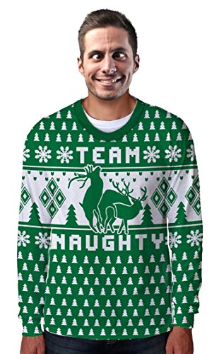 Faux Real - Team Naughty Ugly Sweater Long Sleeve T-Shirt - X-Large - Mens Naughty Elf Costume