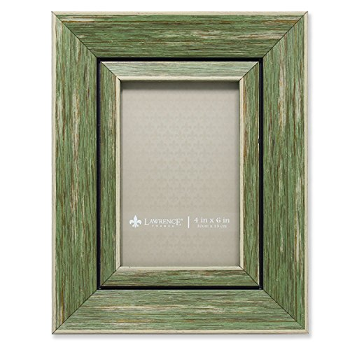 Weathered Green Picture Frame - Lawrence Frames Weathered Decorative Picture Frame, 4 by 6-Inch, Green