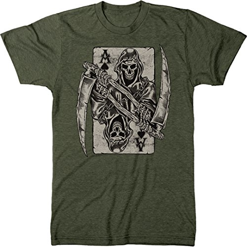 Ace of Spades Grim Reaper Men's Modern Fit Tri-Blend T-Shirt (Military Green, Small)
