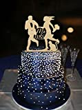 Running Groom And Bride Holding Flower With Lovely Cat Design Cake Toppers Mr & Mrs Wedding Decoration Cake Topper Custom Color