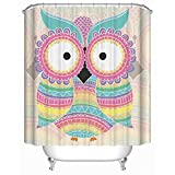 Owl Shower Curtain Homeizen Owl Shower Curtain Set 71 X 71 Inches with 12 Sturdy Rings - Premium Woven Polyester Fabric - Unique Design Featuring Owl In Vibrant Colors