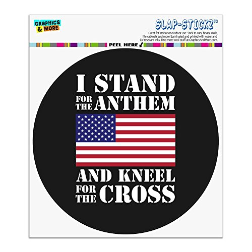 Bumper Cross Country Stickers (I Stand For The Flag Kneel Cross USA American Flag Patriotic Automotive Car Window Locker Circle Bumper Sticker)