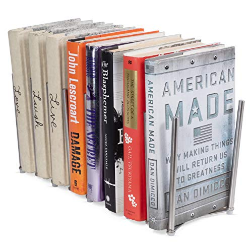 Adjustable Book Holder Bookend Sections Extends Stainless Steel Unique Design (28)