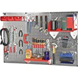 Wall Control Slotted Pegboard Industrial Workstation Accessory Kit - Red, Mod...
