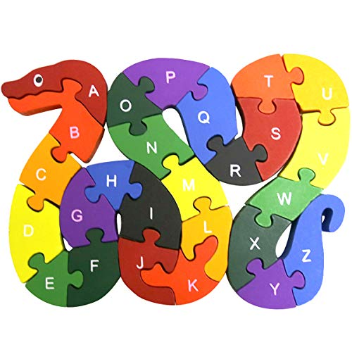 Muxihosn Colorful Snake Letter and Numbers Puzzles Wooden Winding Jigsaw Puzzles Toys for Preschool Educational Learning Toddlers,Kids,Boys,Girls,3-5 Years Old or up