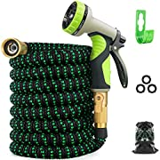 #LightningDeal Zalotte Expandable Garden Hose with 9 Function Nozzle, Leakproof Lightweight Expanding Garden Water Hose with Solid Brass Fittings, Extra Strength 3750D Durable Gardening Flexible Hose Pipe(25ft)