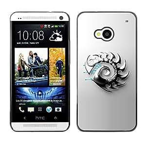"For HTC One ( M7 ) , S-type Hoja Resumen del metal"" - Arte & diseño plástico duro Fundas Cover Cubre Hard Case Cover"