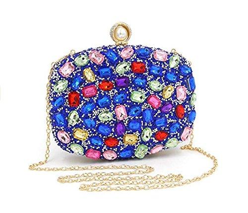 à Sacs main Shimmer de strass à sac de de soirée clubs main partie pour les sac d'embrayage pour mariage Blue sacs à main les femmes pp0ar