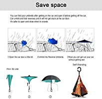 With C-Shaped Handle UV Protection Inverted Folding Umbrellas Windproof And Rainproof Double Folding Inverted Umbrella Cartoon Naruto Car Reverse Umbrella