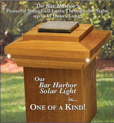 Nantucket Bar Harbor Solar light Post light 3-1/2″ (4×4 Wood) Redwood