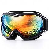 JULI OTG Ski Goggles-Over Glasses Ski/Snowboard Goggles for Men, Women & Youth - 100% UV Protection Anti-fog Dual Lens(Black Frame+12% VLT Silver Len)