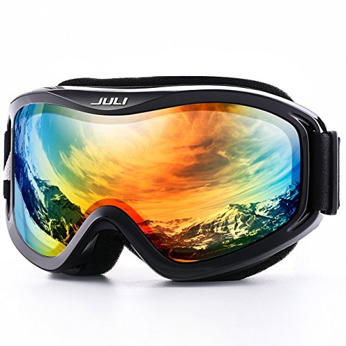 JULI OTG Ski Goggles-Over Glasses Ski/Snowboard Goggles for Men, Women & Youth - 100% UV Protection Anti-fog Dual Lens(Black Frame+12% VLT Silver Len)