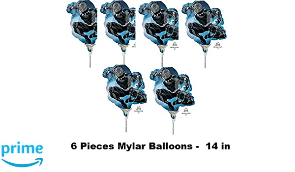 Amazon.com: QUALI Black Panther Movie Party Balloon Mylar Decoration Birthday Favors 14in 6 Pieces: Toys & Games