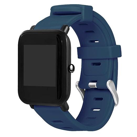 Malloom Deportes silicona correa de reemplazo pulsera para Huami Amazfit Bip Youth Watch (Azul)