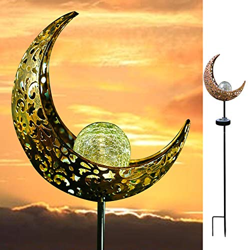 - AMWGIMI Garden Solar Light Outdoor Decorations, Moon Decor, Crackle Glass Ball Metal Garden Stake Light,Waterproof LED Lights for for Pathway, Lawn, Patio, Yard