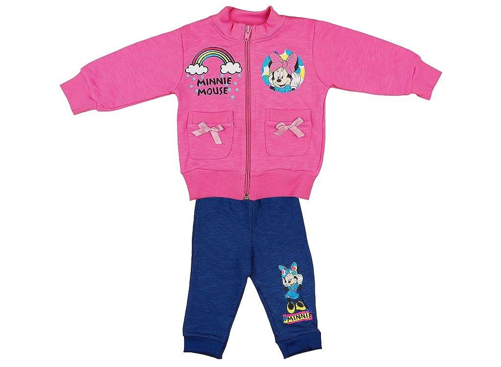 Disney - Minnie Mouse Mädchen- Baby- Sport-Anzug Zweiteilig, Sweat-Jacke mit Langer Hose, GRÖSSE 86, 92, 98, 104, Jogging-Anzug Zum Wohlfühlen, Freizeit-Anzug, in Rosa/Blau GRÖSSE 86