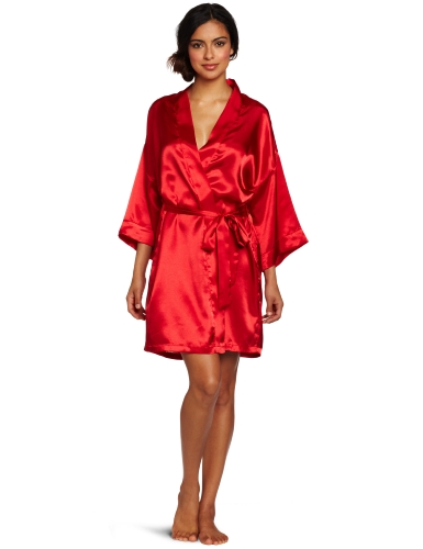 Intimo Women's Poly Charmeuse Robe, Red, Large