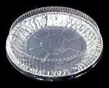 9'' Aluminum Pie Plate Pan Baking Tin 1'' Deep w/Clear Dome Lid 50/PK