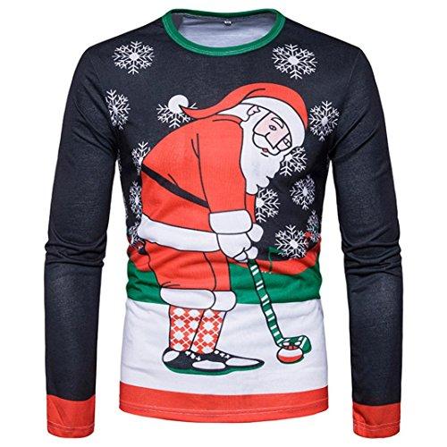 Here Golf Shirt (Elogoog Men's Silm Fit Christmas Ugly Reindeer Xmas Party Long Sleeve T-Shirt (L, Multicolor (Santa Play Golf)))