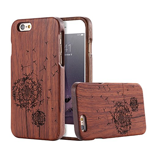 For Apple iPhone 6 6s Case, FLOVEME [Wooden Engraving Pattern] Premium Handmade Real Natural Wood Hard Bamboo Shockproof Slim Cover Holder - Rosewood (Dandelion) - Iphone 6 Wood Case Dandelion