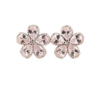 9331f6559 Hypoallergenic Flower Stud Earrings for Women Girls,18K White and Yellow  Gold Plated CZ Daisy
