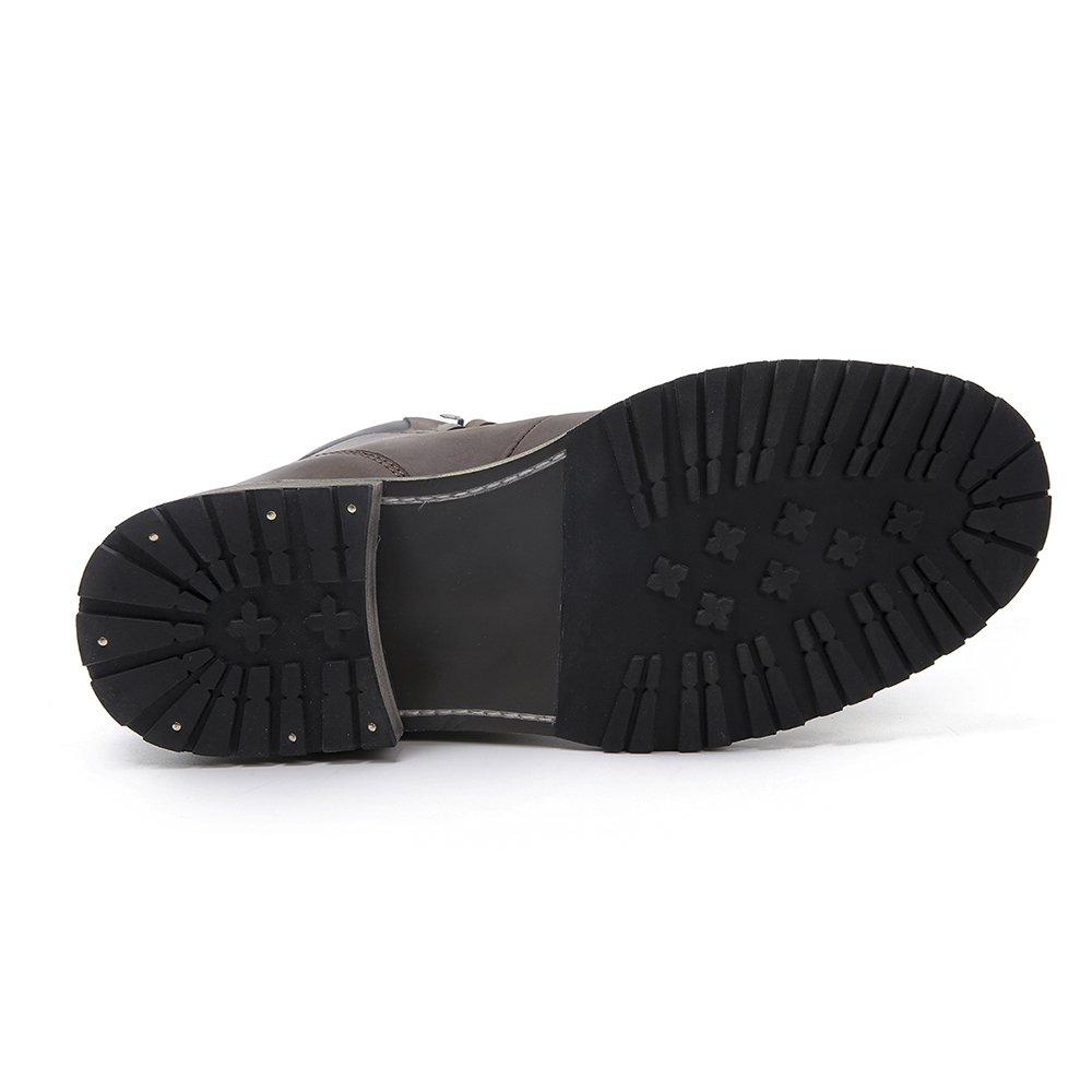Bottines /à la Mode Caf/é Bottes de Moto en Cuir Conception Vintage imperm/éable /à leau pour Homme 45 EU