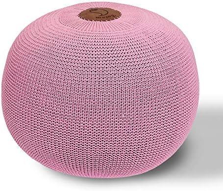 AZK Round Dori Pouf Ottoman,Hand Knit Modern Floor Pouf Round Footstool,Handmade Hand Stitched,Pouffe seat