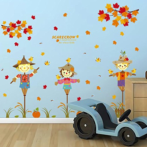 Wall Sticker by Vibola Removable Cartoon Scarecrow Children House Decoration Wall Stickers