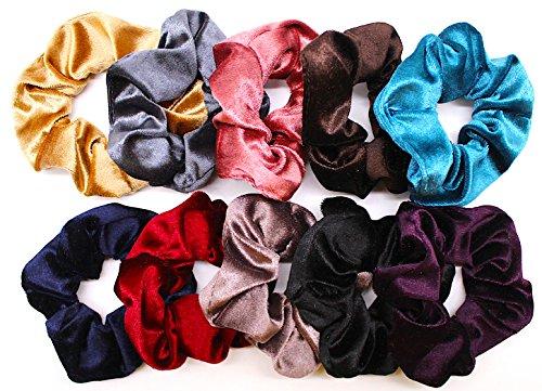 Solace Velvet Hair Scrunchies | Soft Elastic Hair Ties | 10